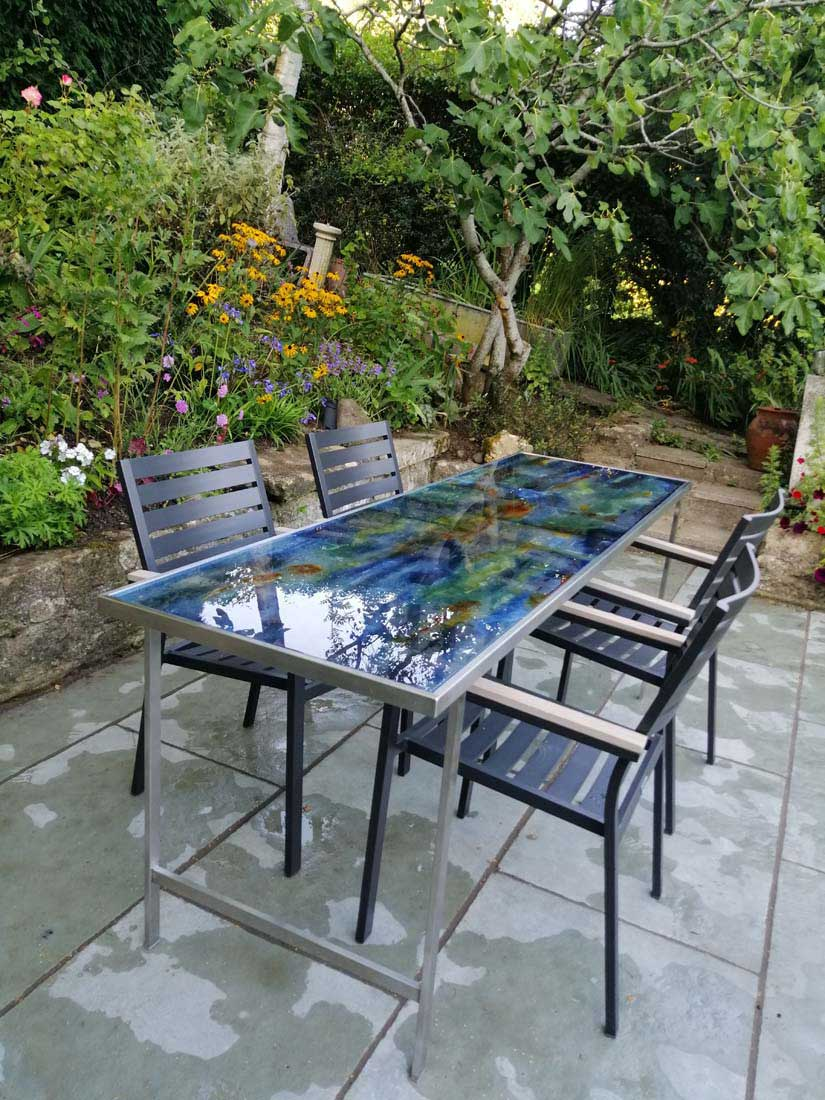 privately commissioned outdoor art glass table by carole waller