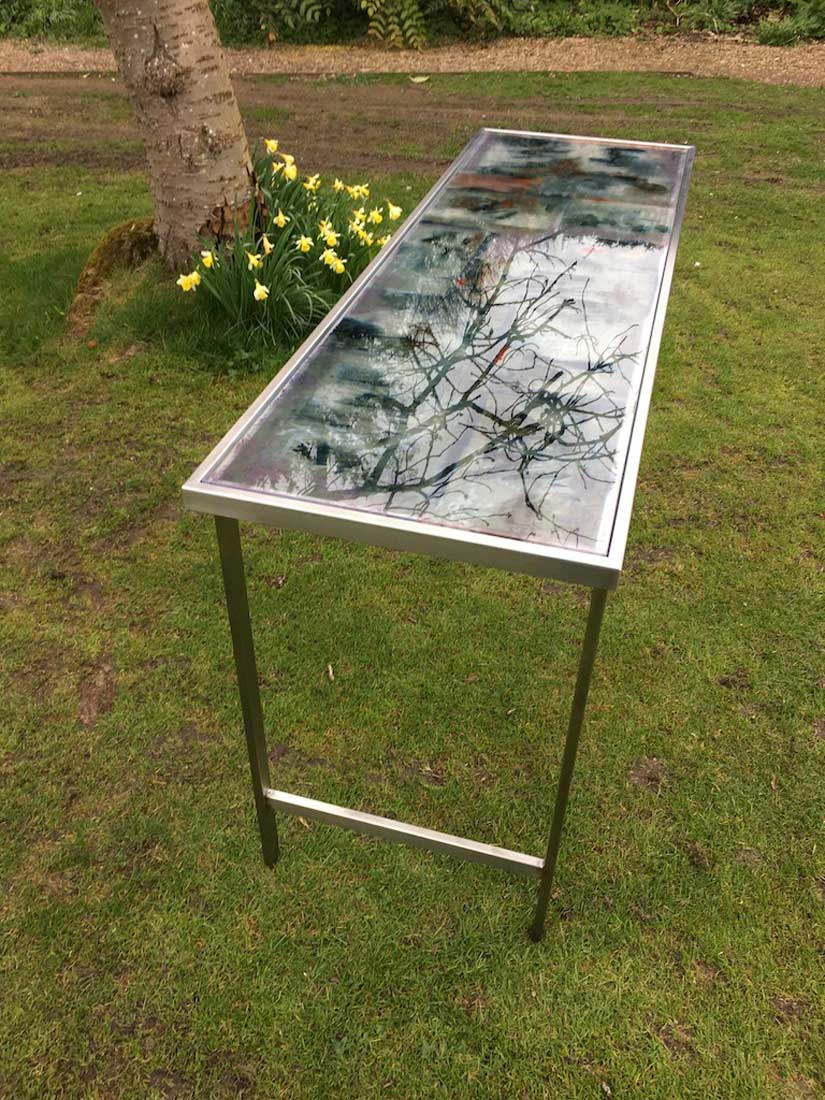 art glass table for outdoors by carole waller