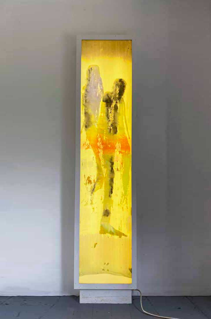Freestanding glass lightbox panel with encapsulated hand painted silk