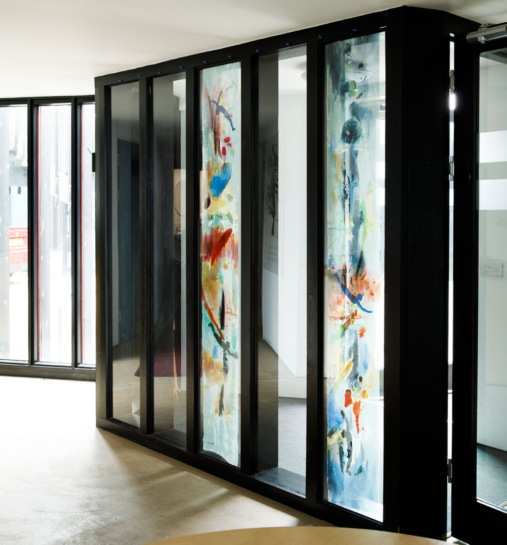 contemporary painted glass door panels by carole waller at stillpoint centre in bath