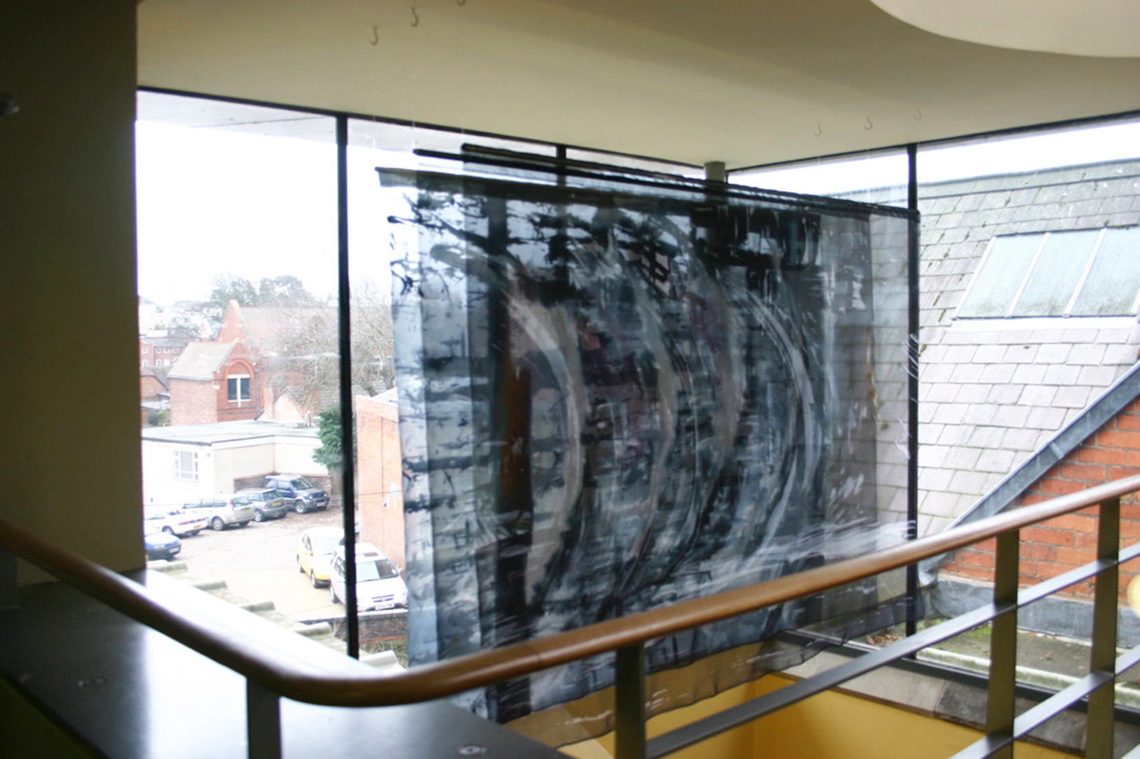painted textile artwork commission for kings school Worcester titled soundwave by carole waller