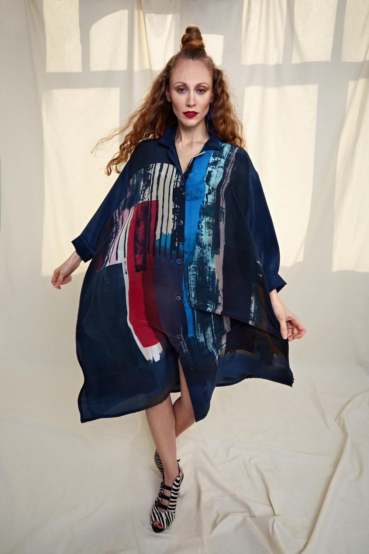 Painted silk crepe shirtdress