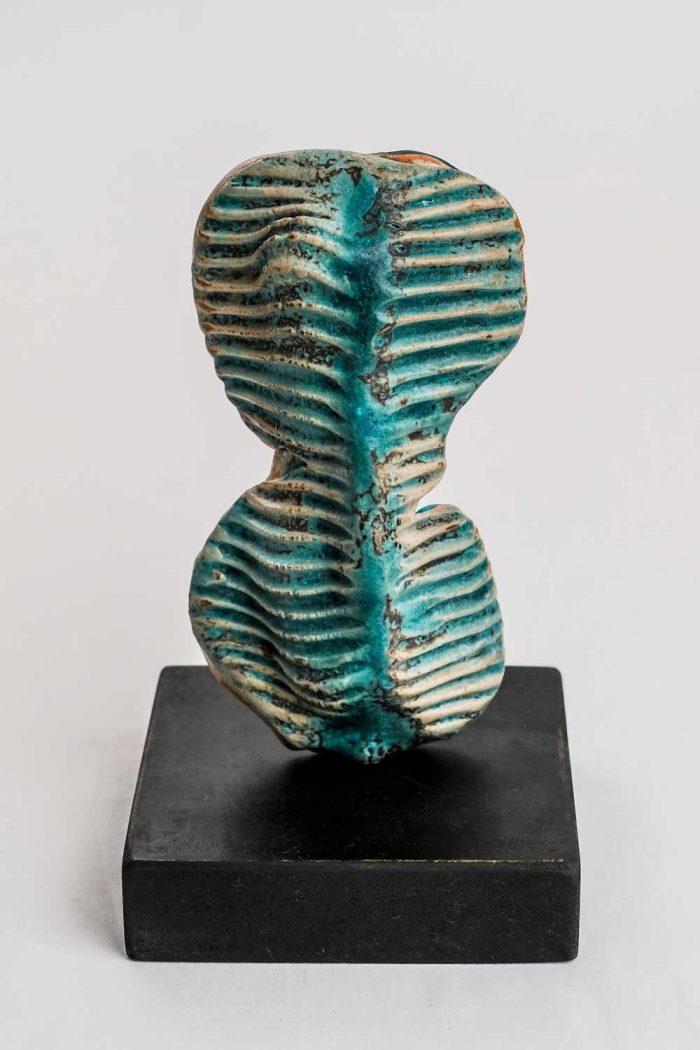 blue torso ceramic sculpture by gary wood