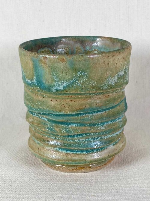 blue green tea bowl bespoke ceramic stoneware pot