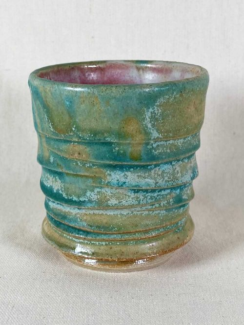 blue green tea bowl ceramic stoneware pot by gary wood