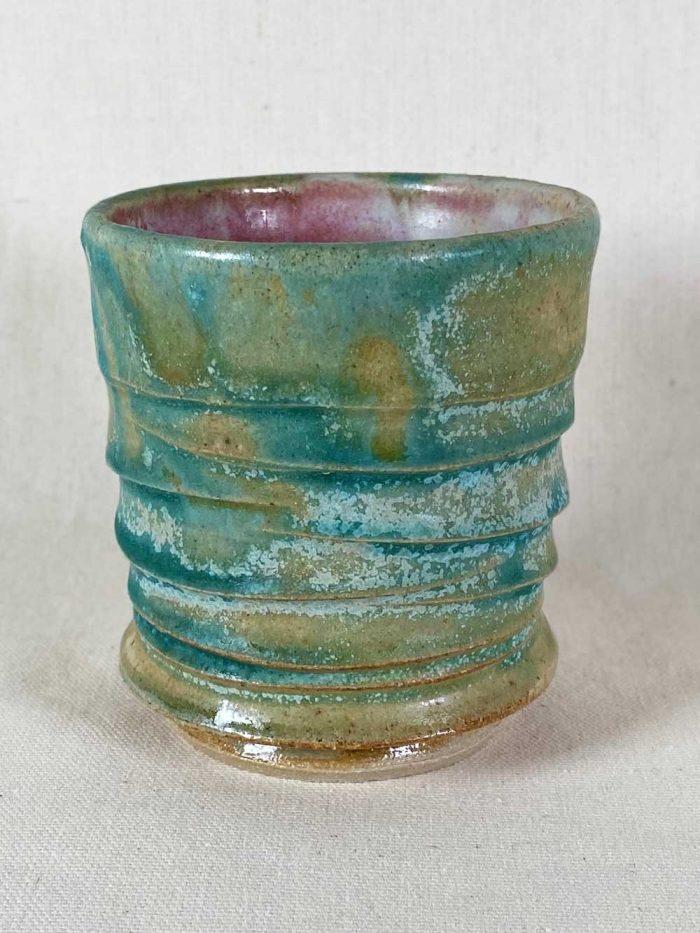 blue green tea bowl ceramic stoneware pot by gary wood