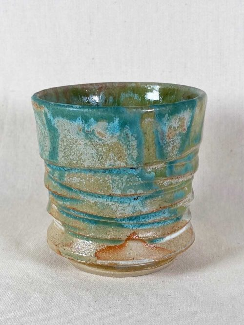 bespoke stoneware blue tea bowl by gary wood