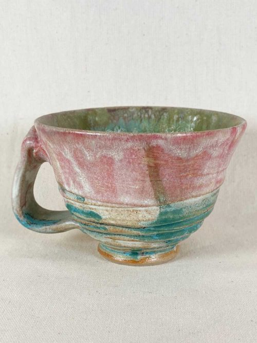 pink blue cup bespoke stoneware by gary wood