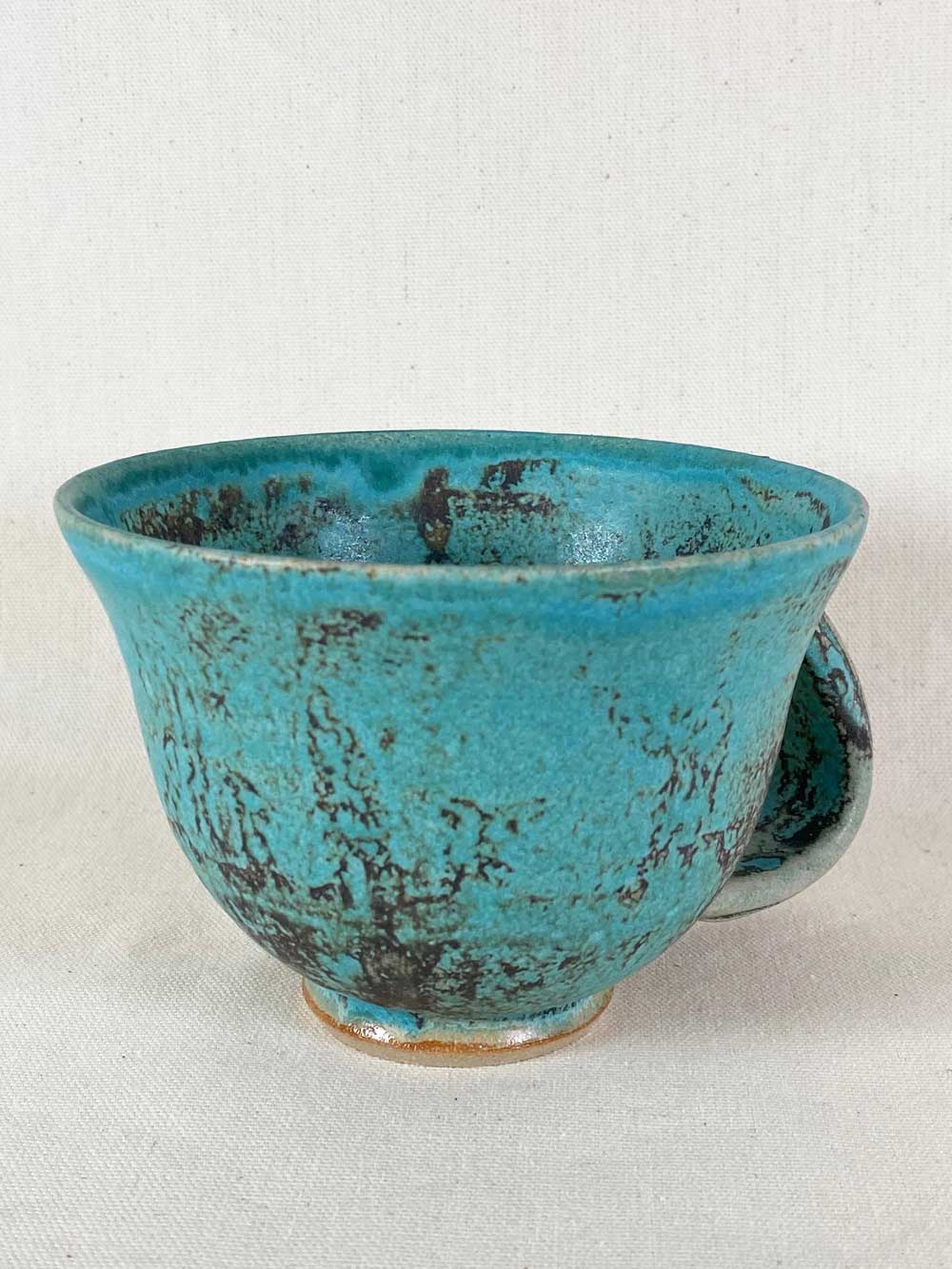 blue grey stoneware cup by gary wood