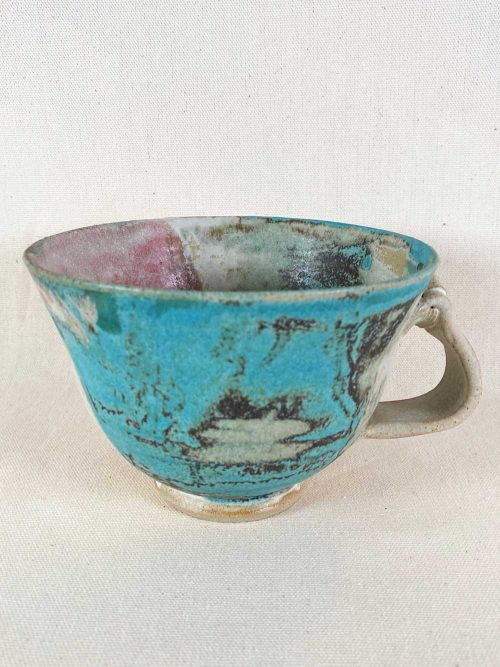 unique blue pink stoneware cup by gary wood