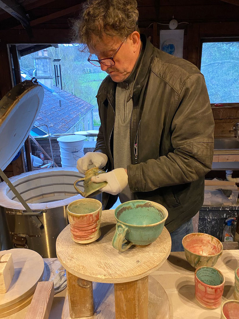 gary wood wokring in the ceramics studio