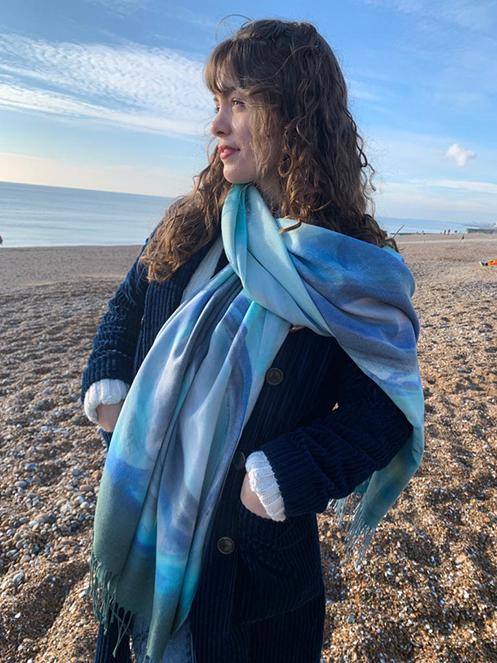 handpainted silk cashmere shawl