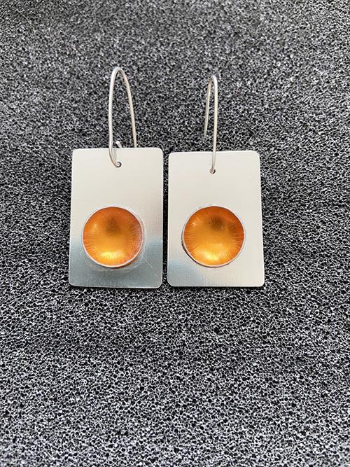 golden yellow aluminium earrings